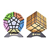 JoyTown Bundle Pack Speed Cube Set of 2 Megaminx Speedcubing, Gold Mirror Cube Twisty Puzzle, with Bonus Stands and Screwdriver Black