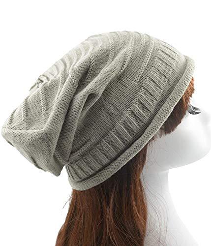 Century Star Fashion Women Knit Slouchy Beanies Crochet Knitted Hats Warm Soft Baggy Beanie Hat Light Grey