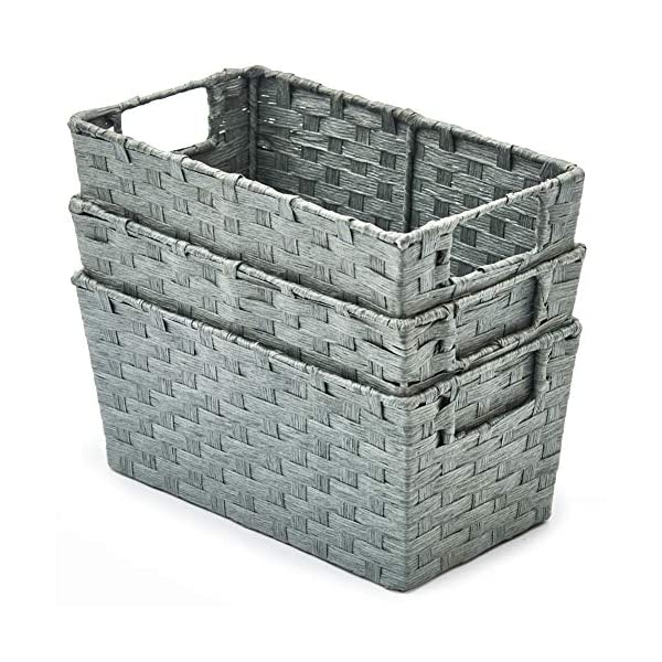 EZOWare Pack of 3 Paper Rope Woven Storage Baskets, Multipurpose Organizer Bins with Handles Perfect for Storing Small Household Item – Gray