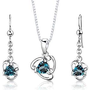 London Blue Topaz Pendant Earrings Necklace Set Sterling Silver 2.75 Carats