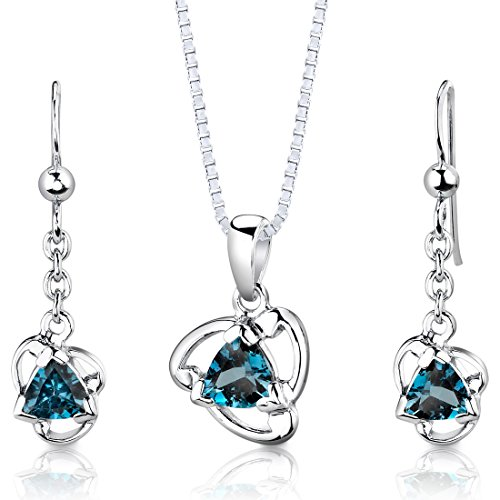 London Blue Topaz Pendant Earrings Necklace Set Sterling Silver 2.75 Carats from Peora