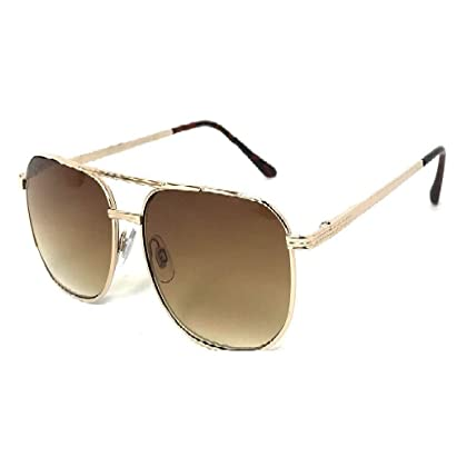 a1abca1337a 1 Pair Brown Lens Aviator Large Full Lens Reading Sunglasses Sun Reader  Gold Frame - Choose Power Strength
