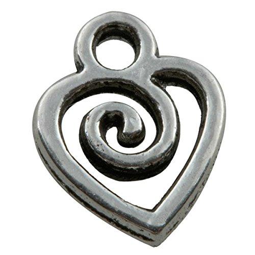 Heart Charm Findings (Moonsix 50Pcs Tibetan Silver Tone Heart Love Cross Charms Findings(Hallow Heart)
