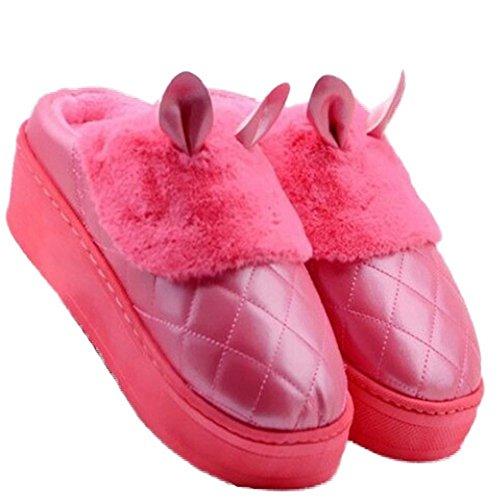 Cybling Zapatillas De Interior Cálidas Para Mujeres Zapatillas De Casa De Conejo Lindas Suela Gruesa Antideslizante Impermeable Rojo