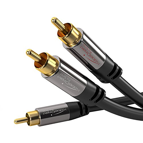 KabelDirekt Audio RCA Cable - Y Adapter Cable - Home Theater Subwoofer Cable (3 ft) RCA Male to Male - Stereo RCA Cable - 1 Male to 2 Male RCAs - PRO Series