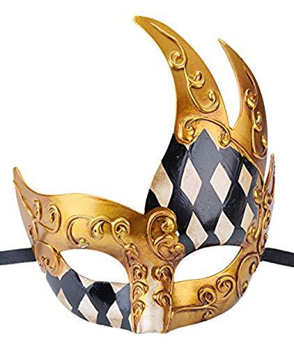 Men's Masquerade Mask Vintage Venetian Checkered Musical Party Mardi Gras Mask (White/Black)