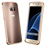 Galaxy S7 Edge Case, S7 Edge Case, ArtMine Luxury Aluminum Metal Bumper Shockproof Protective Snap on Hard Back Case Cover for Samsung Galaxy S7 Edge (Rose Gold)