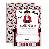 Dracula Fang-Tastic Halloween Birthday Party Invitations, Ten 5''x7'' Fill In Cards with 10 White Envelopes by AmandaCreation