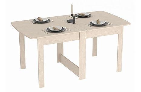 Tisch Klappbar.Rodnik Esstisch Ausklappbar Eiche Weiß Holzoptik Klapptisch Raumwunder Funktionstisch Tisch Klappbar