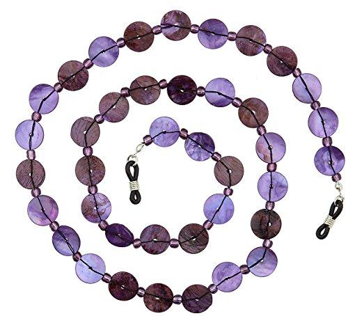 Chain Shell - Beaded Shell Eyeglass Chain Holder Fashion Lanyard Necklace, Gypsy Purple
