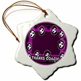 3dRose orn_43417_1 Thanks to Soccer Coach, Purple Snowflake Porcelain Ornament, 3-Inch