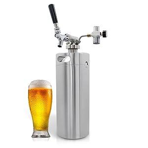 NutriChef - Pressurized Growler Tap System - Stainless Steel Mini Keg Dispenser Portable Kegerator Kit - Co2 Pressure Regulator Keeps Carbonation for Craft Beer, Draft and Homebrew - PKBRTP100 (128oz)