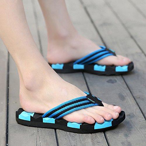 Xing Lin Sandalias De Hombre Cuñas Y Sandalias De Tacón Alto Nueva Esponja De Verano Fuera Con Sandalias Y Zapatillas De Cuero Sandalias De Plataforma Aumento 42 Hornet Azul