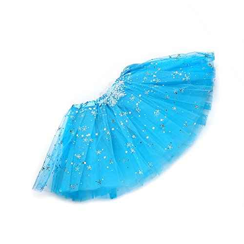 [Anleolife 12'' Princess Fairy Birthday Blue Ballerina Tutu Skirt Girls Dance Dress Tutus Flower Sequins] (80s Costume For Kids)