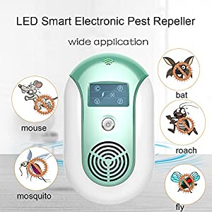RICRIS Ultrasonic Pest Repeller[Multiple Sound Waves+Optical Repelling+Led Display] Smart Electronic Pest Control Insect Repellent Plug In for Mice,Bats,Mosquitoes,Flies,Bugs and Roaches(Blue)