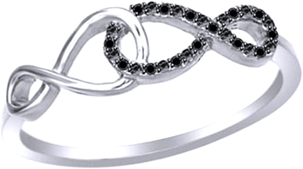 Jewel Zone US Black Natural Diamond Infinity Ring in14k Gold Over Sterling Silver 0.05 Cttw