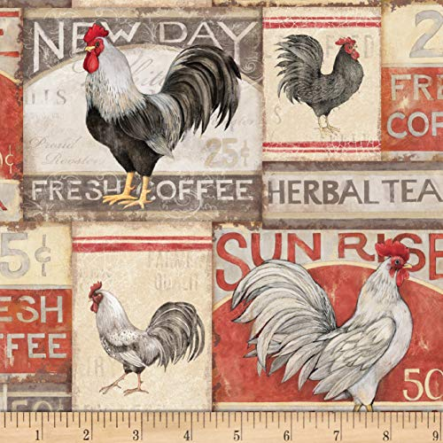 Springs Creative Products Cream Susan Winget Farmhouse Rooster Patch Poplin Fabric by The Yard