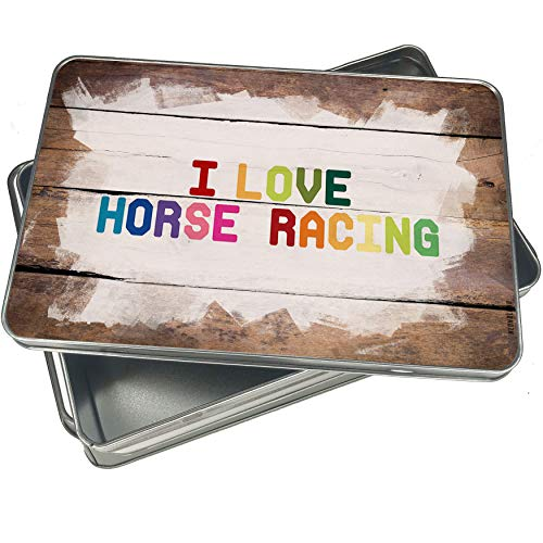 NEONBLOND Cookie Box I Love Horse Racing,Colorful Christmas Metal Container -
