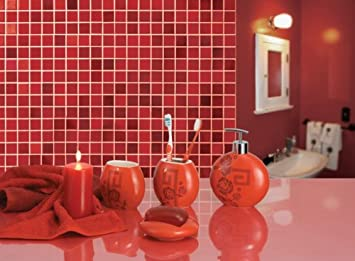 red bathroom accessories toothbrush holder soap dispenser