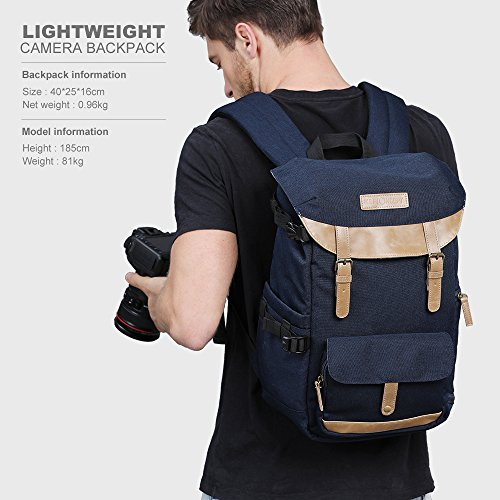 51KnuB7ZGBL - K&F Concept Multi-Functional Camera Backpack 600D Polyester Waterproof Photography Equipment Travel Bag for Tripod,DSLR Canon Nikon Sony and Accessory with Rain Cover