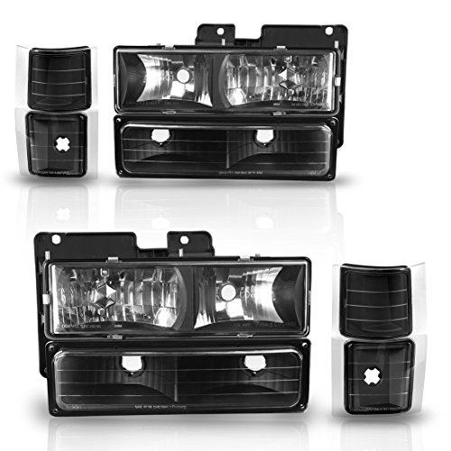 1500 A/c System - Headlight Assembly kit for Chevy C/k Series 1500 2500 3500 / Chevy Tahoe / Chevy Suburban / Chevy Silverado Crystal Headlamp w/ Corner & Bumper Chrome Housing with Clear Lens,2 Year Warranty (Black)