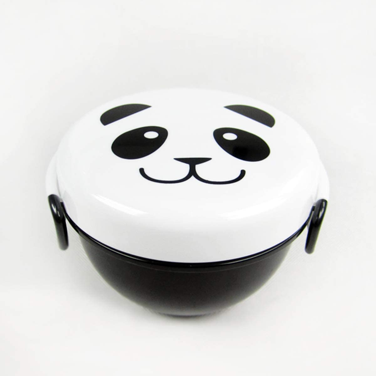 Cute Panda Face Bento Box for Kids Boys Lunch Box Children School Lunch Container for Toddler Girls Animal Zoo 2 Layer Food Container Bowl Snack Box Lunchbox with Fork Spoon Microwave Safe,white black