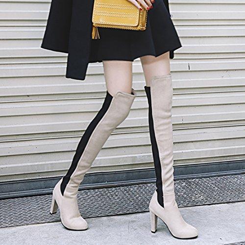Aiyoumei Mode Féminine Slip-on Épais Talons Stretch Bottes Automne Hiver Sur Les Genoux Longues Bottes Beige