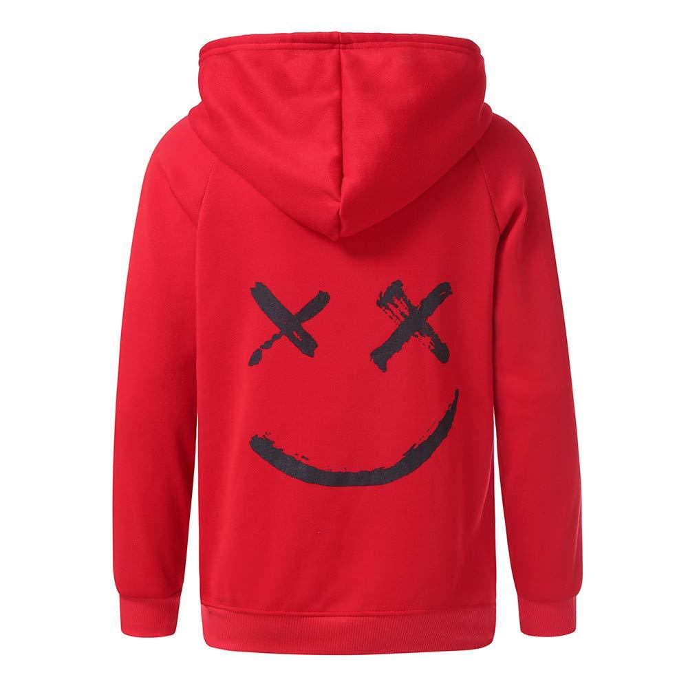 Men Smiling Face Fashion Print Hoodie Sweatshirt, DIKEWANG Unisex Teen's Men Hoodies Sweatshirts Smile Print Headwear Hoodie Hip Hop Streetwear Jacket Pullover Sweatshirt Traksuit Clothing Hot
