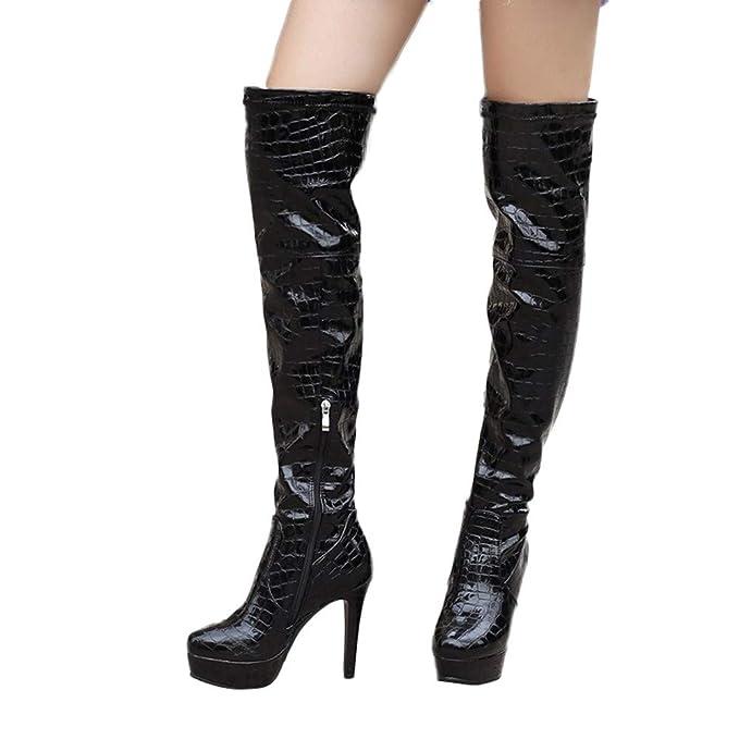 Estampado Zapato Serpiente Botas Moda Mujer De Yvelands Piel Con VGqLUpSzM
