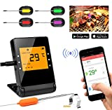 BBQ Meat Thermometer, Basecamp Wireless BBQ Thermometer, Upgraded Smart Bluetooth Cooking Thermometer with 4 Stainless Steel Probes Remote Monitor for Grilling, Cooking Kitchen Oven, for iOS & Android Review