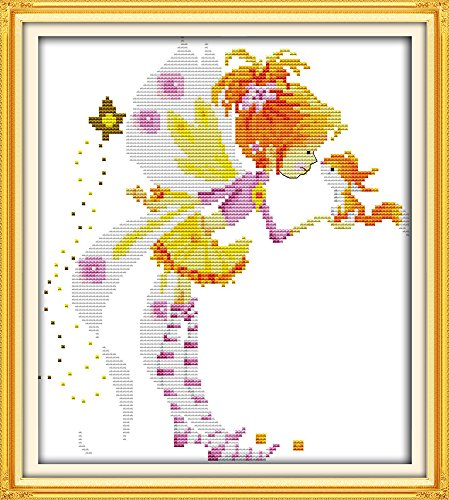 (CaptainCrafts New Stamped Cross Stitch Kits Preprinted pattern Counted Embroidery Starter Kits for Beginner Kids and Adults - Little Girl with Squirrel - DIY artwork Needlecrafts (STAMPED))