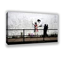 "Banksy street art Police Frisk Young Girl Framed Canvas Picture A2 Size Size 16"" X 24"""