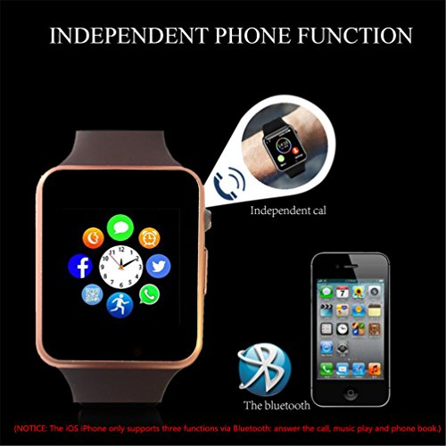 Bluetooth Smartwatch,Smart Watch Unlocked Watch Phone can Call and Text with TouchScreen Camera Notification Sync for Android SumSung Huawei and IOS iPhone 7 8 X(Gold) by aimion (Image #5)