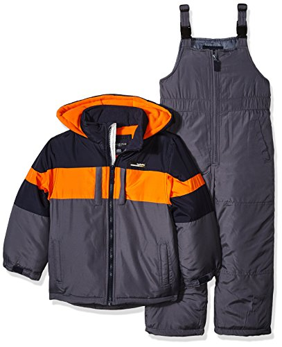 London Fog Boys' Little 2-Piece Snow Bib and Jacket Snowsuit, Navy/Orange, 5/6