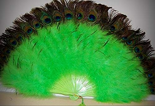 1 Packet of Marabou Crafting Feather Fan - Lime Green W Peaock 24