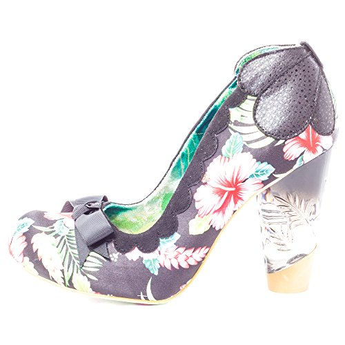 Irregular ChoiceDelightfully Floral - Sandalias con cuña mujer Negro - negro/flores
