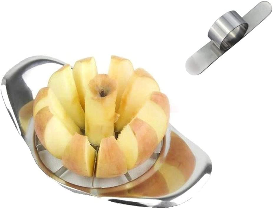 Apple Slicer Corer Cutter Wedger Divider Metal Chrome,with Bonus Steel Orange Peeler Parer Finger Type Blade Easy Open Citrus Grapefruit, 2Pcs Fruit Serving Tools