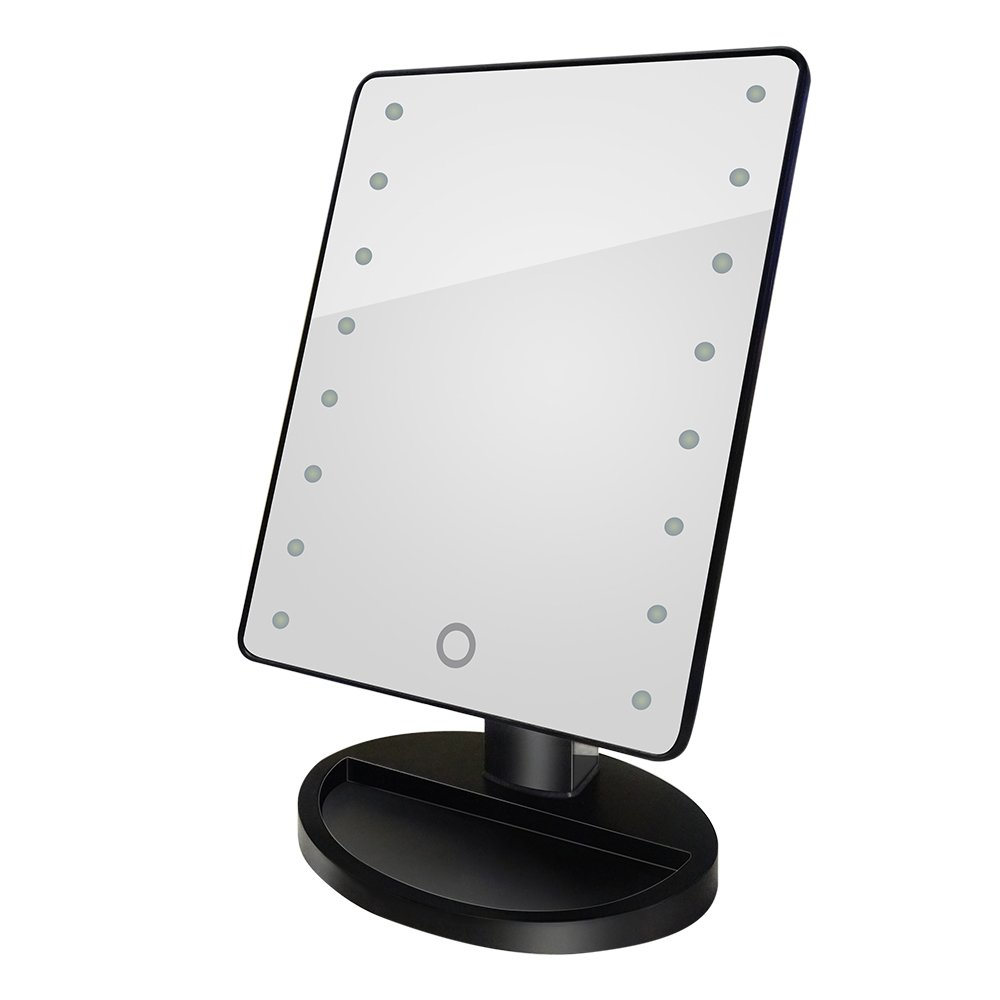 Anself Rotatable LED Light Makeup Mirror Touch Dimmable Brightness Adjustable Square Vanity Desk Stand