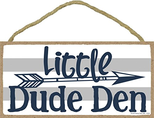 Little Dude Den - 5 x 10 inch Hanging Boys Room Decor, Wall Art, Decorative Wood Sign Home Decor (Best Toddler Boy Rooms)