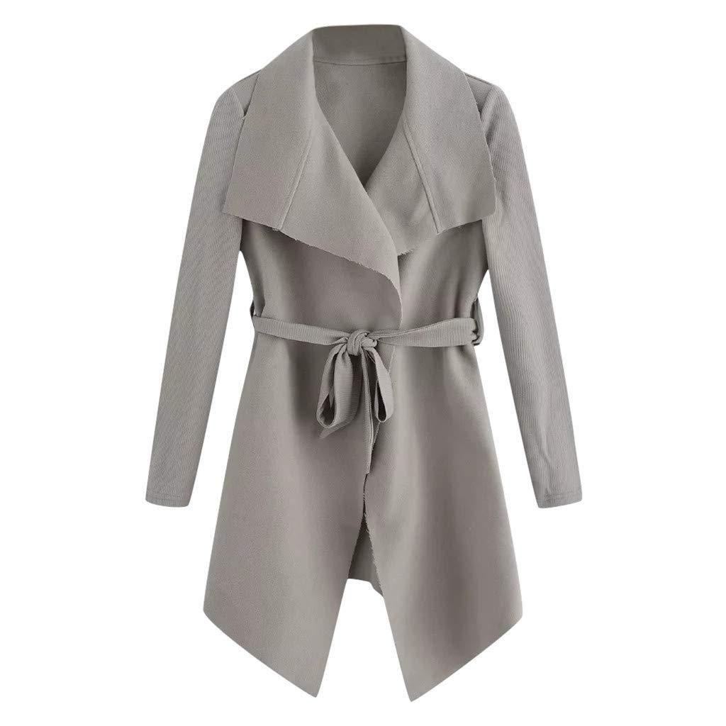 Fshinging Women's Windbreaker Solid Color Open Front Overcoat Jacket Outwear Cardigan Coat Tops{Gray,S} by Fshinging