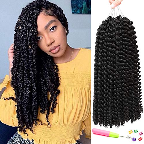 7 Pacs 14 Inch Passion Twist Hair Water Wave Braiding Hair Ombre Long Bohemian Braids for Passion Twist Crochet Hair Hot Water Setting Synthetic Natural Braid Hair (14 Inch, 1B) ...