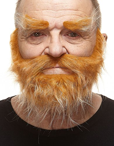 Mustaches Self Adhesive, Novelty, Realistic, Traper Fake Beard Fake Mustache and Fake Eyebrows, Honey with White Color -