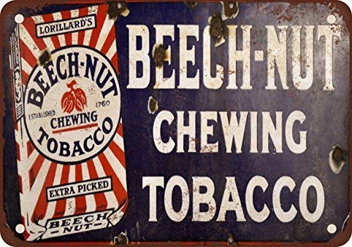 Lilyanaen New Metal Sign Aluminum Sign Beech-Nut Chewing Tobacco Vintage Metal Sign 8 X 12 Inch