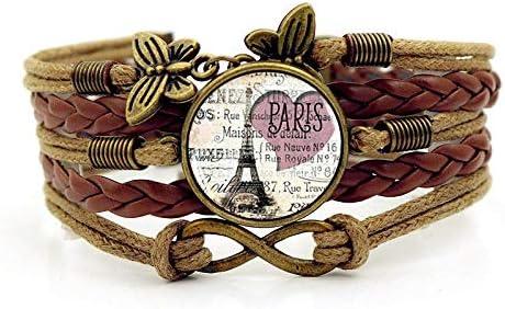 XIANNU Pulseras para Mujer,Vintage Pulsera Multicapa,París romántica Torre Eiffel,Tiempo Trenzada marrón Pulsera Piedras Preciosas Mariposas para Mujeres niñas joyería Regalo de cumpleaños