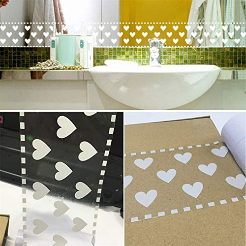 Lace Border Wallpaper Transparent - White Lace Removable Decoration Self Adhesive Wallpaper Shop Display Window Sticker Home Bathroom Frameless Mirror DIY Decor (Love Heart)