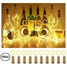 Aluan Wine Bottle Lights 10 Pack 12LED Cork Bottle Lights with Screwdriver Battery Operated Wine Cork Lights String Lights for Party Wedding Christmas Halloween Bar Jar Lamp Decor, Warm White