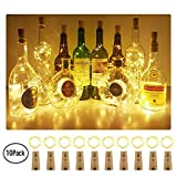 Aluan Wine Bottle Lights with Cork 10 Pack 12LED Bottle Lights Battery Inclued Wine Cork Lights String Lights for Party Wedding Christmas Halloween Bar Jar Lamp Decor, Warm White