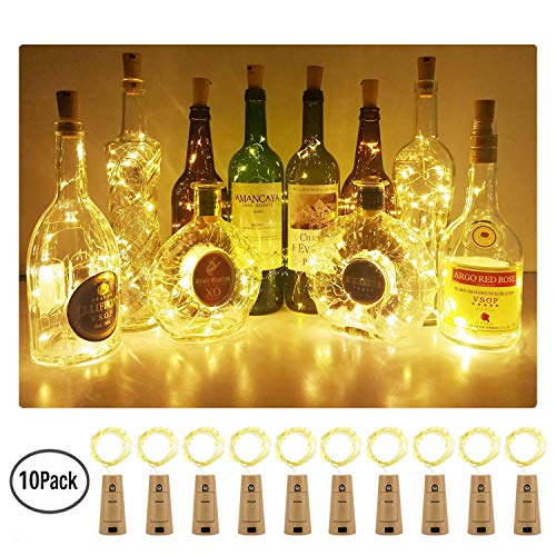 Aluan Wine Bottle Lights with Cork 10 Pack 12LED Bottle Lights Battery Inclued Wine Cork Lights String Lights for Party Wedding Christmas Halloween Bar Jar Lamp Decor, Warm White ()