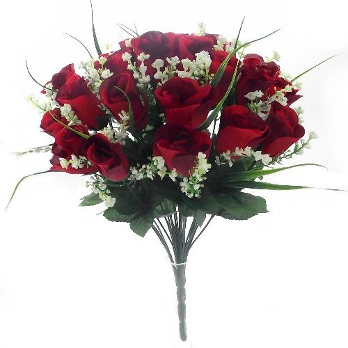 42cm Artificial Silk Red Rose & Grass Bush with Gyp & Foliage 24 - 25 flower heads- Wedding Grave Home Decoration by A1-Homes