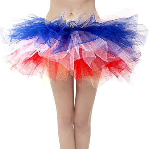 Topdress Layered Tulle Tutu Skirts Red White Blue Flag Regular Sizing